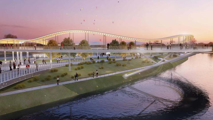 [广东]深圳河川整治与滨水景观设计改造-天桥效果图