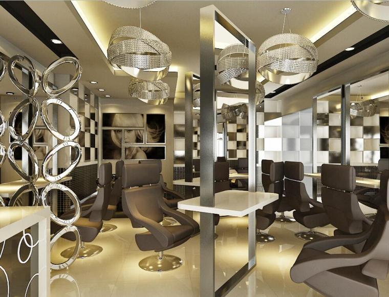 现在风格理发店施工图设计+效果图-效果图1