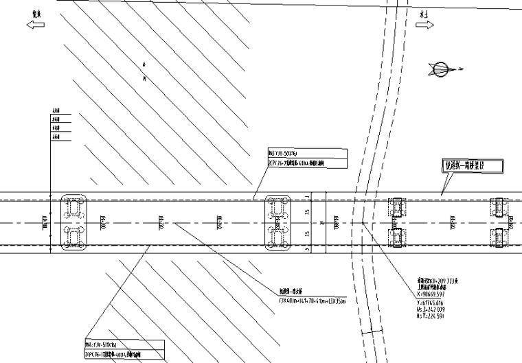 [重庆]某大桥桥梁段工程电照施工图设计-道路照明平面图