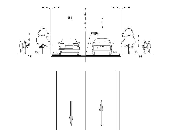纵一路桥梁段图纸交通含招标文件清单-S-T-003 标准路段标线布置图