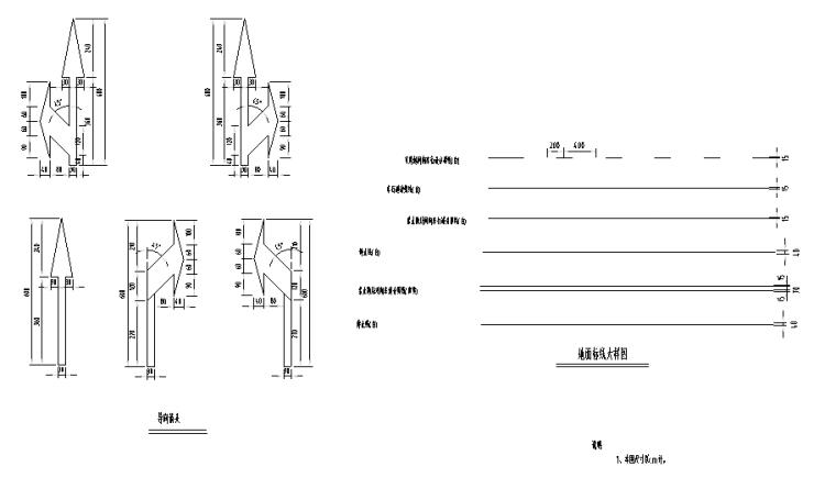 纵一路桥梁段图纸交通含招标文件清单-地面标线大样图