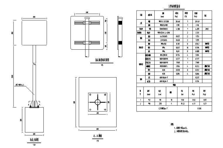 纵一路桥梁段图纸交通含招标文件清单-Φ89单立柱支撑结构图