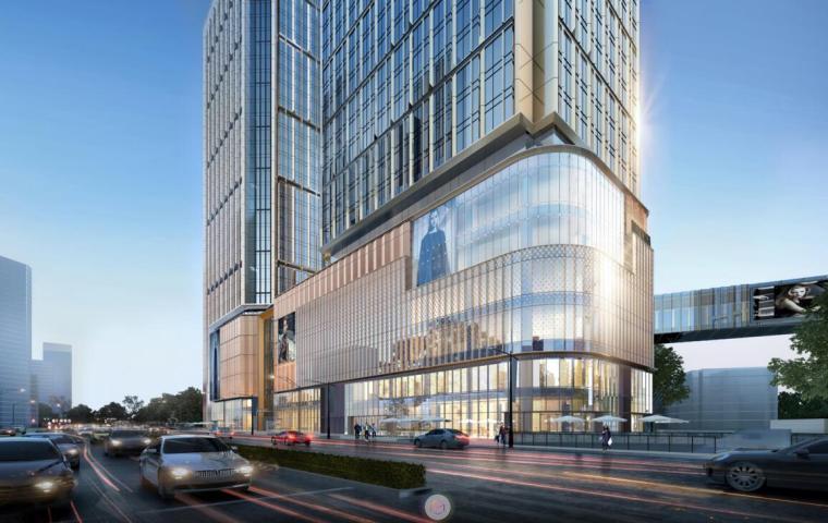 [江苏]知名企业现代风商业综合体建筑方案-沿湖南路马台街透视图