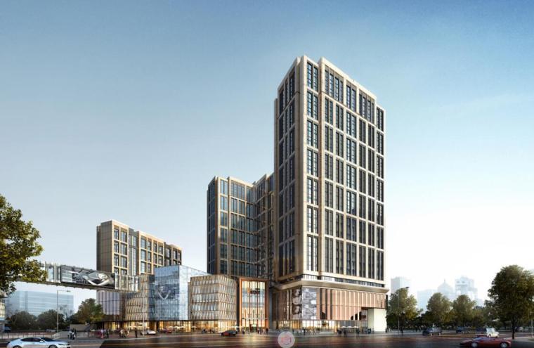 [江苏]知名企业现代风商业综合体建筑方案-沿湖南路马台街透视图二