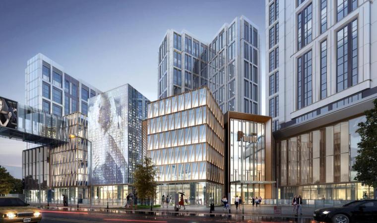 [江苏]知名企业现代风商业综合体建筑方案-沿湖南路马台街透视图一