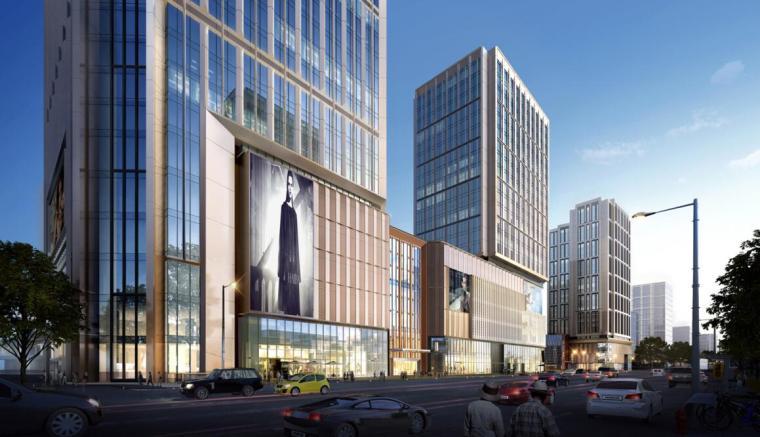 [江苏]知名企业现代风商业综合体建筑方案-沿湖南路透视图