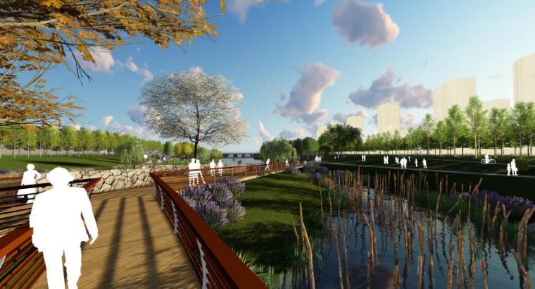 [山东]烟台生态河道滨河公园景观设计方案-滨水浮桥效果图