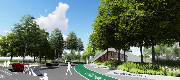 [山东]烟台生态河道滨河公园景观设计方案-广场效果图2