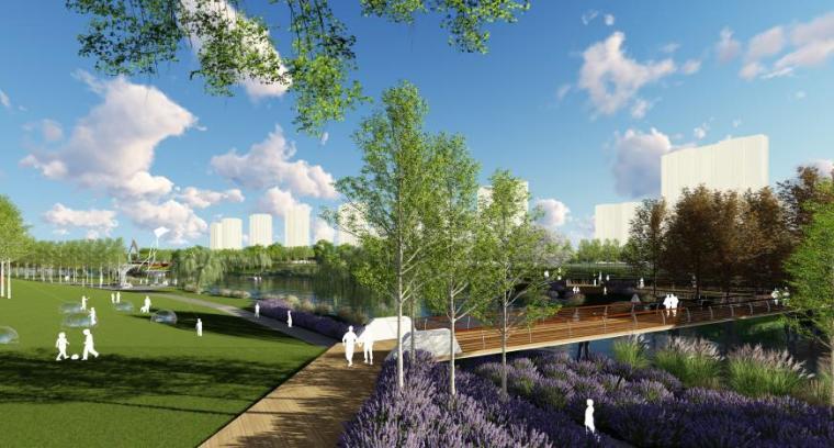 [山东]烟台生态河道滨河公园景观设计方案-浮桥效果图