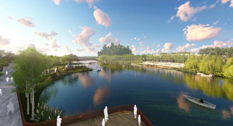 [山东]烟台生态河道滨河公园景观设计方案-滨水效果图