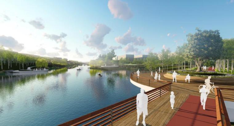 [山东]烟台生态河道滨河公园景观设计方案-湿地水生活区效果图