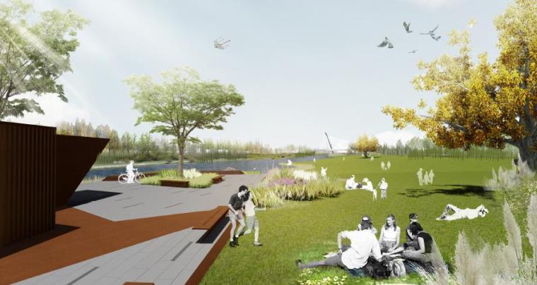 [山东]烟台生态河道滨河公园景观设计方案-浪漫新生活体验区效果图