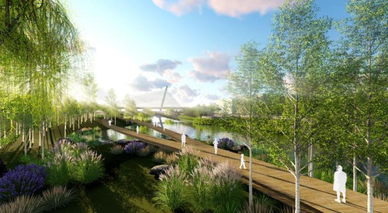 [山东]烟台生态河道滨河公园景观设计方案-湿地水生活区效果图2