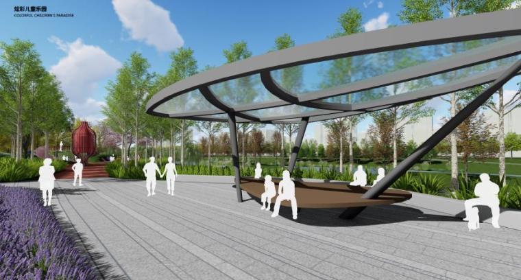 [山东]烟台生态河道滨河公园景观设计方案-炫彩儿童乐园效果图