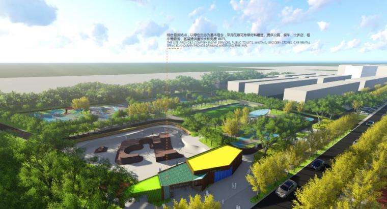[山东]烟台生态河道滨河公园景观设计方案-综合服务站点景观效果图
