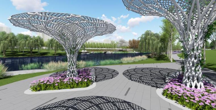 [山东]烟台生态河道滨河公园景观设计方案-愿望树广场效果图