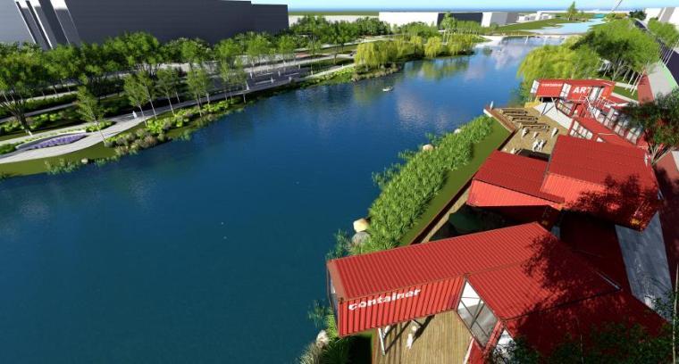 [山东]烟台生态河道滨河公园景观设计方案-时尚生活体验区效果图