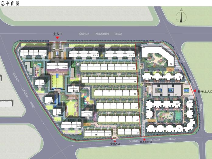 [北京]旧宫镇低密度公园豪宅社区方案文本-总平面图