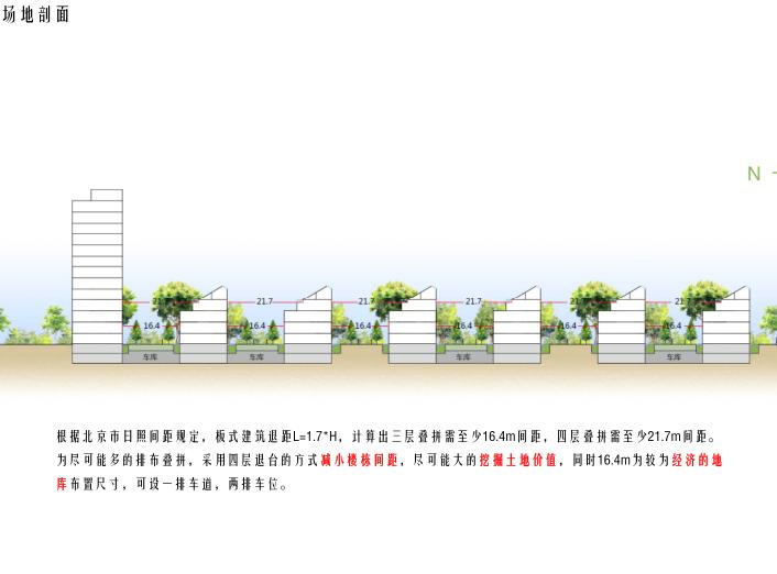 [北京]旧宫镇低密度公园豪宅社区方案文本-场地剖面