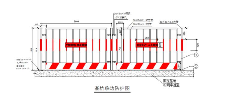 7层框架结构商业用房土方开挖施工方案-02 基坑边安全防护示意图