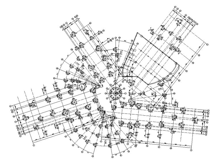 2层框架+钢桁架+网壳结构科技馆全套施工图-桩基础及承台平面布置图