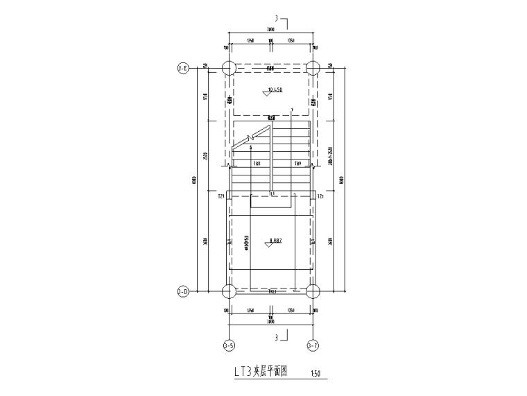 2层框架+钢桁架+网壳结构科技馆全套施工图-楼梯平面图