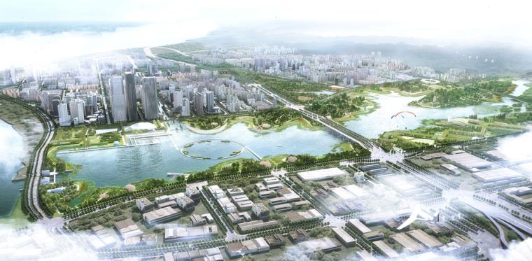 [江西]南昌城市生态湖泊公园景观设计方案-整体鸟瞰图2