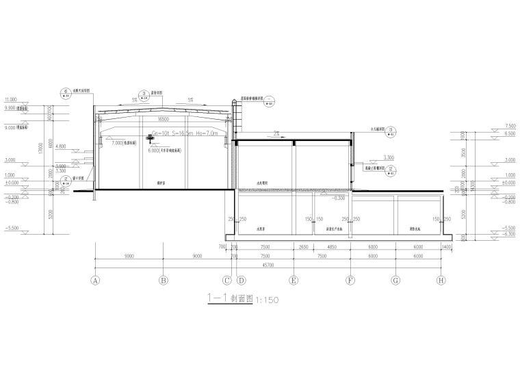[山东]门式刚架_框架结构能源中心全套2017-建筑剖面图