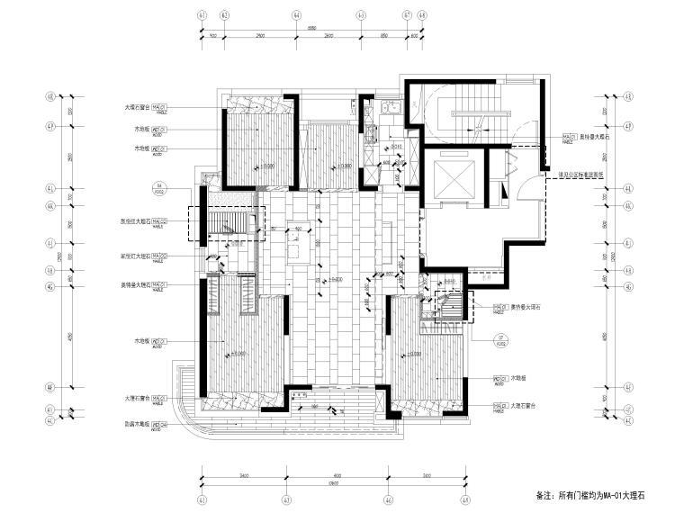 [上海]142㎡现代三居室家装样板间施工图-地面铺装图
