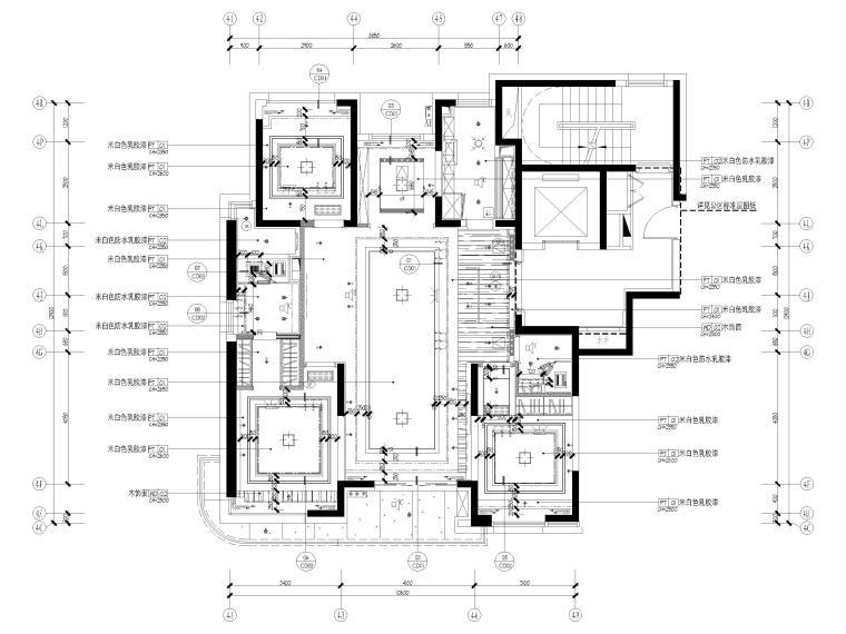 [上海]142㎡现代三居室家装样板间施工图-天花布置图