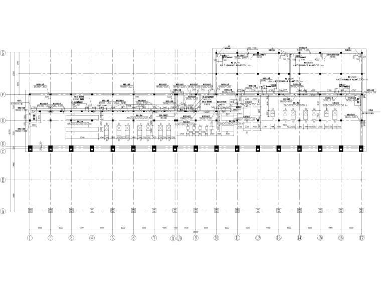 [山东]门式刚架_框架结构能源中心全套2017-地下室底板设备基础及墙体留洞平面布置图