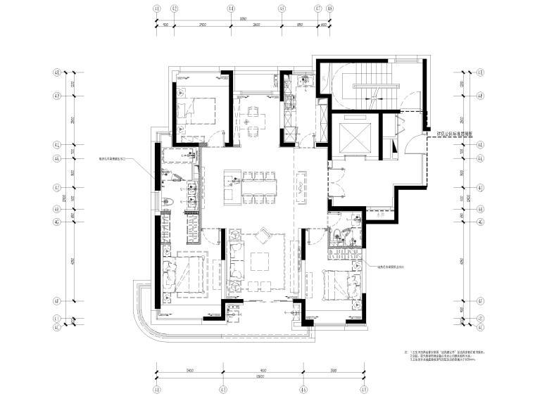[上海]142㎡现代三居室家装样板间施工图-给排水布置图