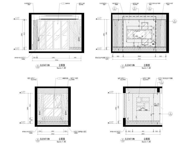 [上海]142㎡现代三居室家装样板间施工图-样板间立面图3