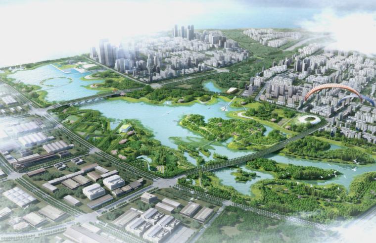 [江西]南昌城市生态湖泊公园景观设计方案-滨湖城市公园鸟瞰图3