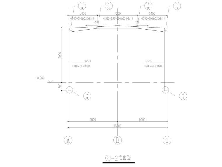 [山东]门式刚架_框架结构能源中心全套2017-钢架立面图