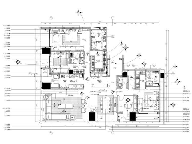 [深圳]华润261㎡现代三居公寓装修施工图-样板间家具平面布置图