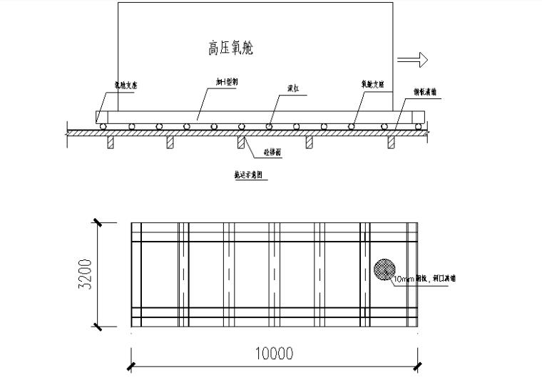 高压氧舱安装施工方案-06 高压氧仓底座尺寸示意图