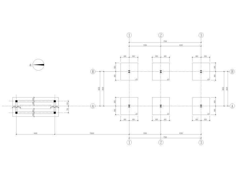 [山东]钢桁架_钢框架结构门卫室全套图2017-基础平面图