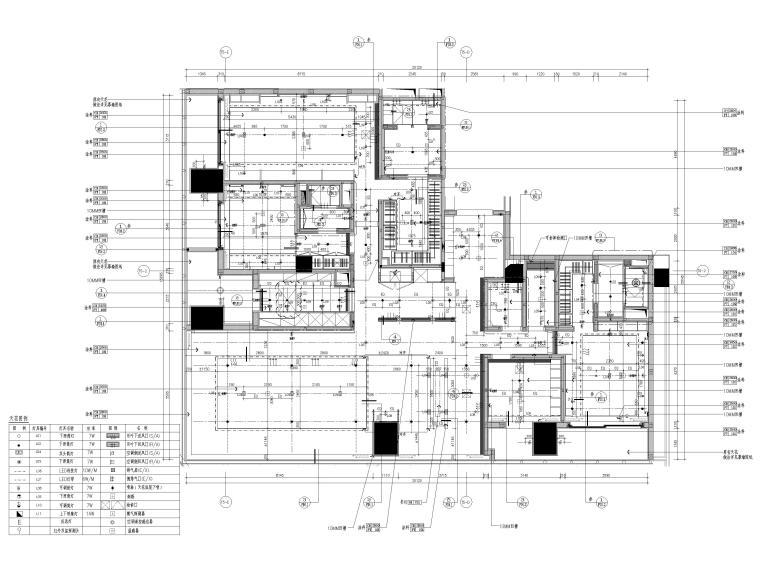 [深圳]华润261㎡现代三居公寓装修施工图-样板间天花布置图