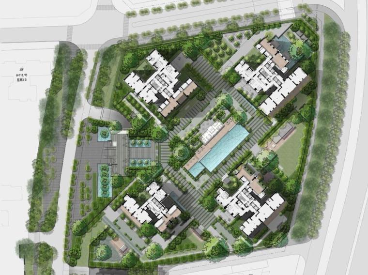 现代风格顶级豪宅景观设计方案+CAD总平图-总平面图