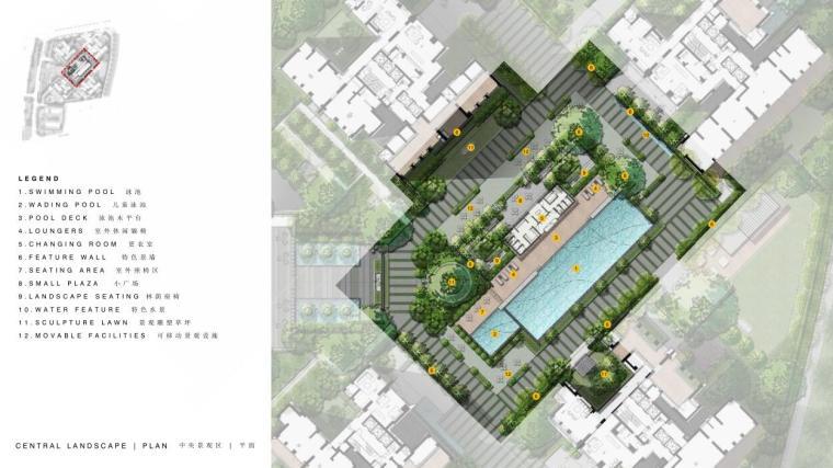 现代风格顶级豪宅景观设计方案+CAD总平图-中 央 景 观 区PINGMIANTU