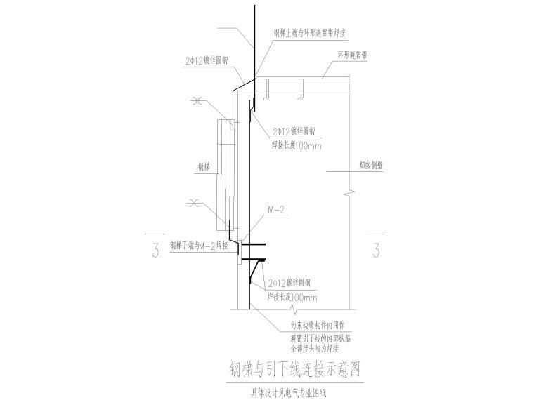 [山东]3层钢框架结构工业厂房全套图纸2017-钢梯与引下线连接示意图