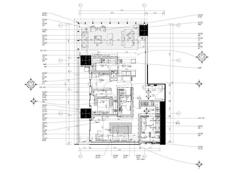 [深圳]华润63㎡现代公寓样板间装修施工图-样板间家具平面布置图