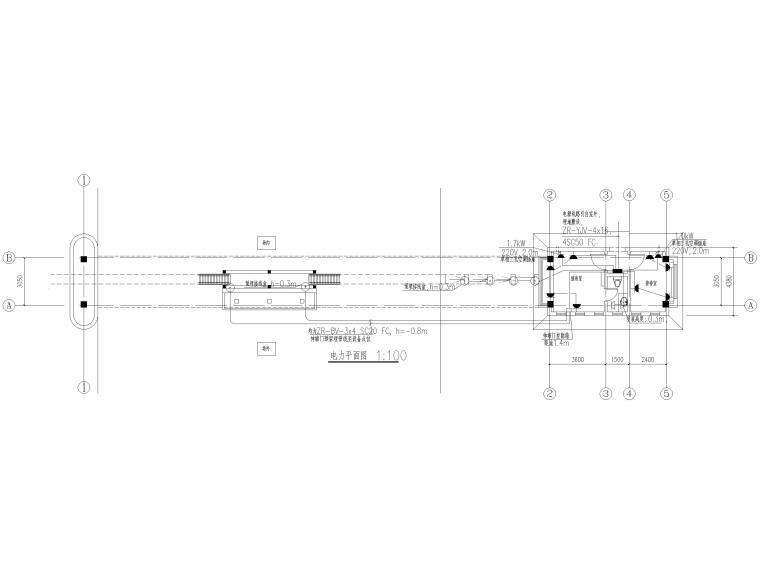 [山东]钢桁架_钢框架结构门卫室全套图2017-电力平面图