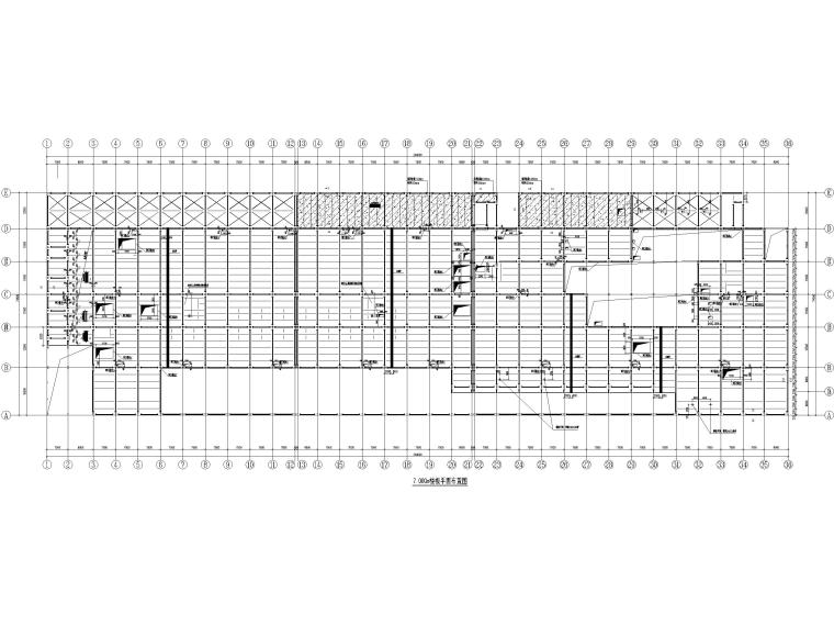 [山东]3层钢框架结构工业厂房全套图纸2017-楼板平面布置图