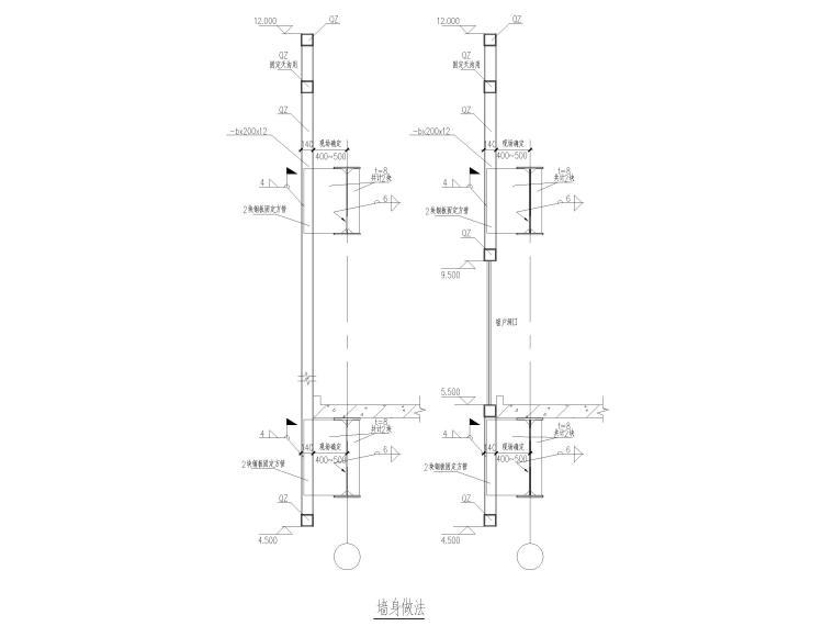 [山东]3层钢框架结构工业厂房全套图纸2017-通廊墙身做法