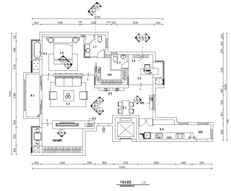 北欧工业风平层住宅-三室两厅装修施工图-01 平面布置图