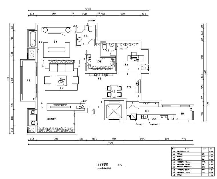 北欧工业风平层住宅-三室两厅装修施工图-插座布置图