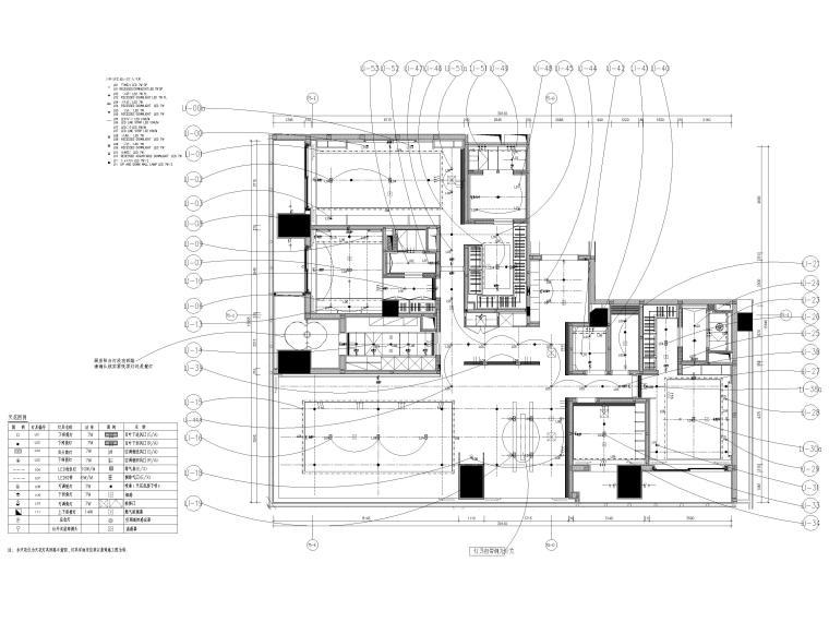 [深圳]华润261㎡现代三居公寓装修施工图-样板间灯位连续图