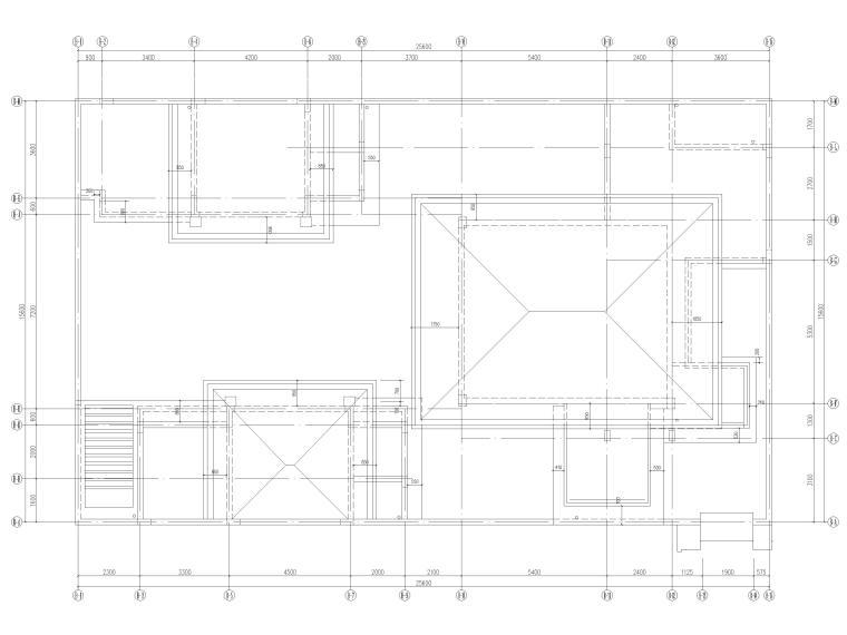 [三亚]海棠之星一层别墅建筑施工图+SU模型-屋顶平面图